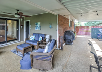 Covered patio of Boise bench home